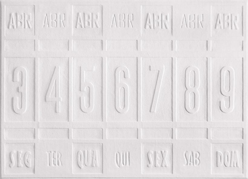 Calendário  2011 70 x 50 cm relevo e  acílico sobre tela e madeira